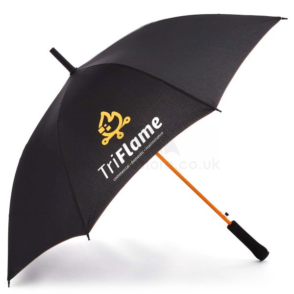 Printed Fare AC Regular umbrella viewed from side, with white and orange logo on four panels.