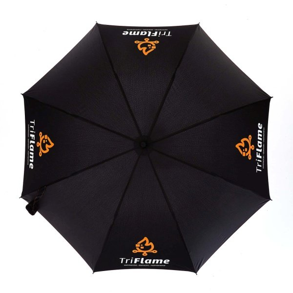 Printed Fare AC Regular umbrella viewed from top, with white and orange logo on four panels.