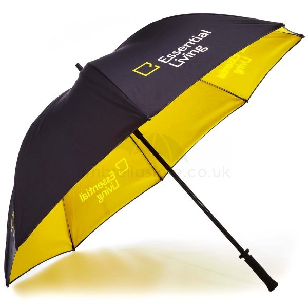 Printed Double canopy umbrella viewed from side, with essential living logo on four panels.