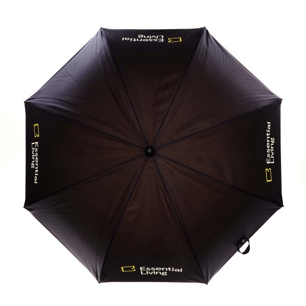 Printed Double canopy umbrella viewed from top, with essential living logo on four panels.