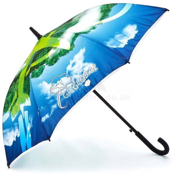 Printed Full colour Onebrella umbrella viewed from side, with full colour artwork 360 of sky and land with an aeroplane.