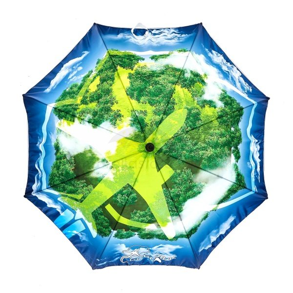Printed Full colour Onebrella umbrella viewed from top, with full colour artwork 360 of sky and land with an aeroplane.
