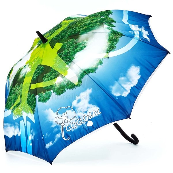 Printed Full colour Onebrella umbrella viewed from side view, with full colour artwork 360 of sky and land with an aeroplane.