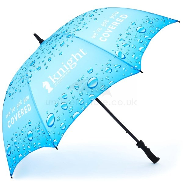 Printed ProSport Deluxe umbrella viewed from side, with full colour dye sublimation print on all panels showing rain drops and a white logo.