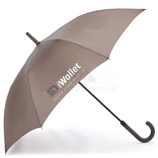 Branded Fare AC Regular fashion umbrella viewed from side, with two colour logo on four grey panels.