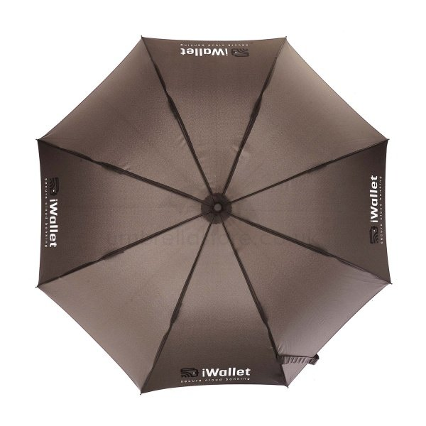 Printed Fare AC Regular fashion umbrella viewed from top, with two colour logo on four grey panels.