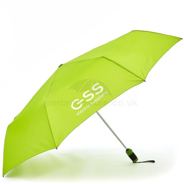 Branded Fare golf sized folding umbrella viewed from side, with white logo on bright green canopy.