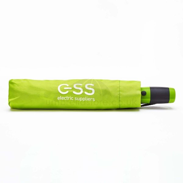 Printed Fare golf sized folding umbrella viewed from with soft sleeve, with white logo on printed sleeve.