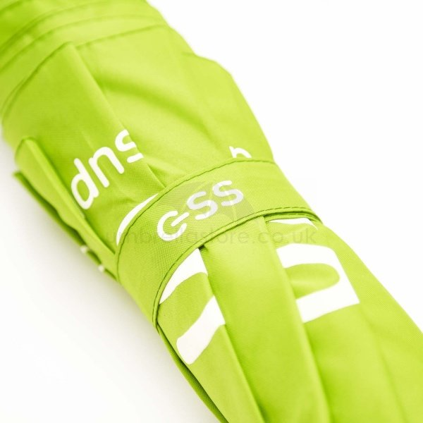 Branded Fare golf sized folding umbrella viewed from body, with white logo on green tie wrap.