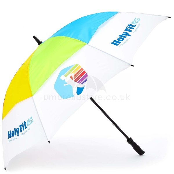 Printed Pro brella vented umbrella viewed from side, with Rainbow vented panels and dye sublimation print on lower panels.