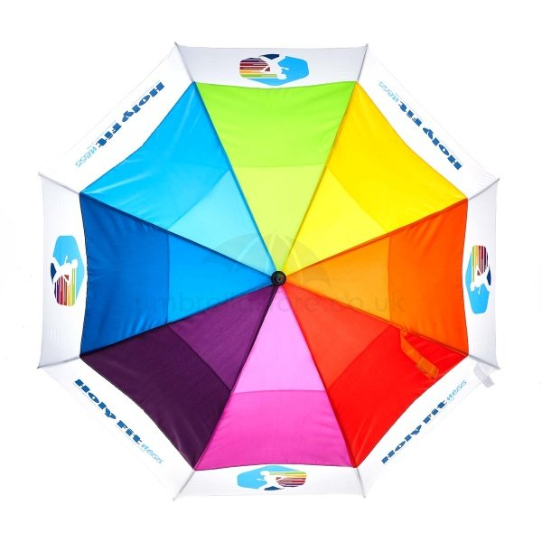 Branded Pro brella vented umbrella viewed from top, with Rainbow vented panels and dye sublimation print on lower panels with one colour tie wrap.