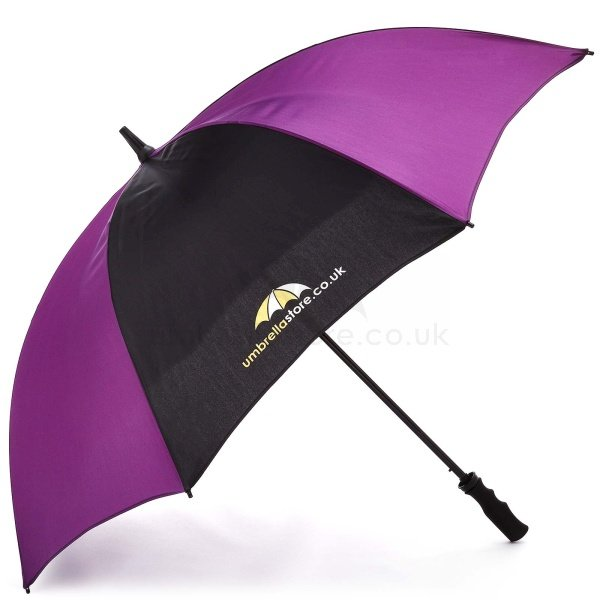 Printed Probrella umbrella viewed from side view, with umbrellastore logo on blue and purple panels .