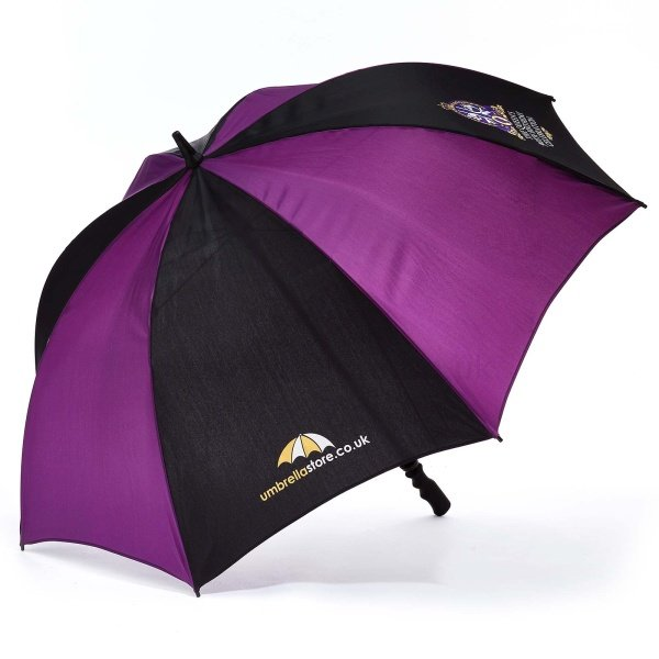 Printed Probrella umbrella viewed from , with umbrellastore logo on blue and purple panels .