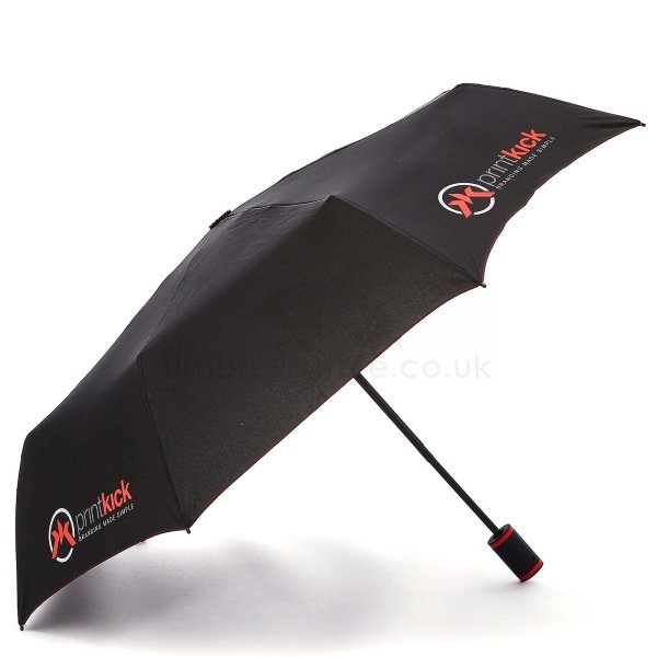 Printed Fare AC Mini style umbrella viewed from side, with three colour Printkick artwork on four panels.