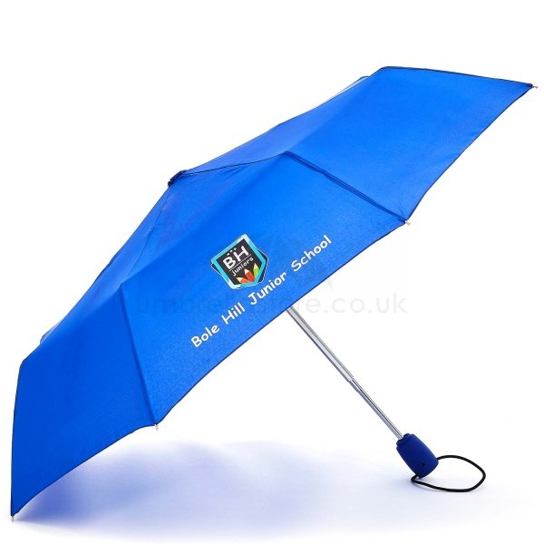 Printed Fare AOC Mini umbrella viewed from side, with full colour logo of school on four panels.