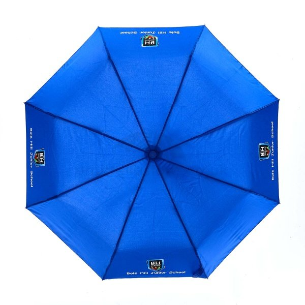 Printed Fare AOC Mini umbrella viewed from top, with full colour logo of school on four panels.