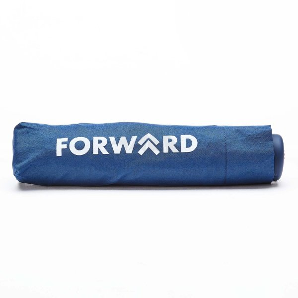 Branded Fare Aluminium mini umbrella viewed from side, with white logo on branded sleeve.