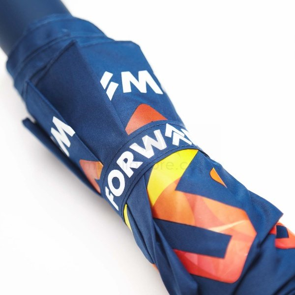 Printed Fare Aluminium mini umbrella viewed from body, with tie wrap for corporate effect.