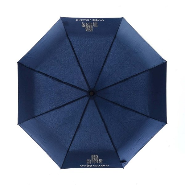 Printed Fare exclusive 50th corporate umbrella viewed from top, with two colour logo on two panels.