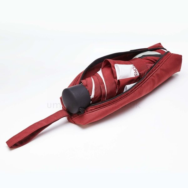 Branded Bespoke promo light umbrella viewed from side, with opened pouch showing closed umbrella.