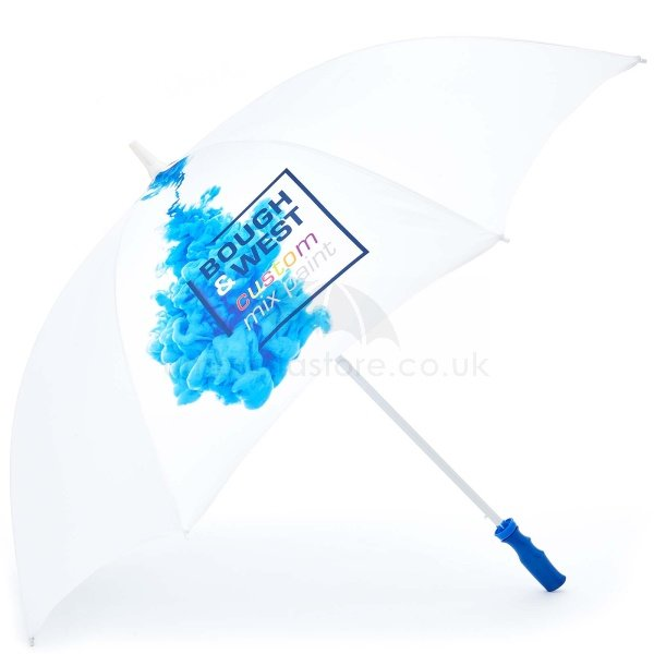 Branded Probrella umbrella viewed from side, with full colour blue ink logo on four panels.