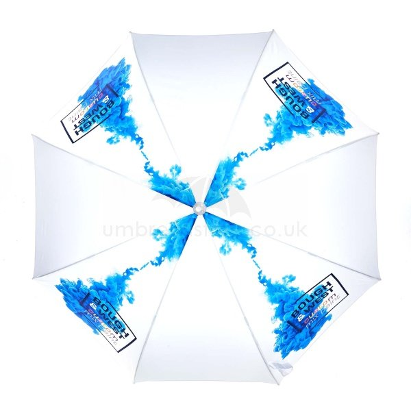 Printed Probrella umbrella viewed from top, with full colour blue ink logo on four panels.
